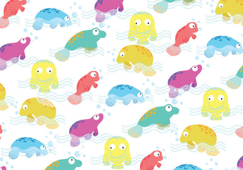 Manatee colorful Pattern Vector - Free vector #393047