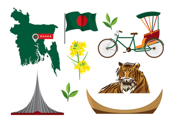 Bangladesh Map and Icon Vectors - vector #393067 gratis