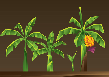 Banana Tree Cartoon Vector - Free vector #393177