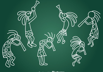 Hand Drawn Kokopeli Collection Vector - Free vector #393247