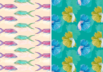 Vector Summer Seamless Fish Pattern - Free vector #393557