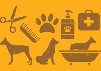 Pet Dog Icons Set - vector gratuit #393617