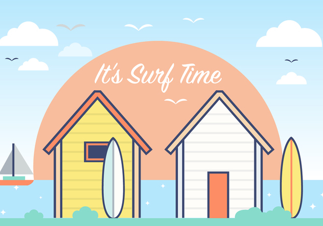 Summer Surf Shack Vector Background - Free vector #393737