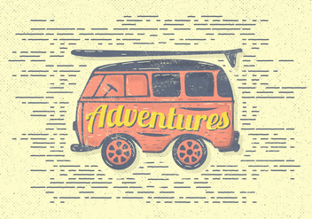 Free Vintage Adventures Van Vector Illustration - vector gratuit #393817