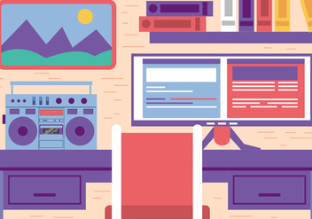 Free Flat Vector Office Workspace - Kostenloses vector #393847