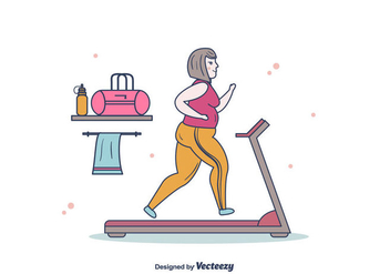 Vector Fat Women Running - vector #393897 gratis