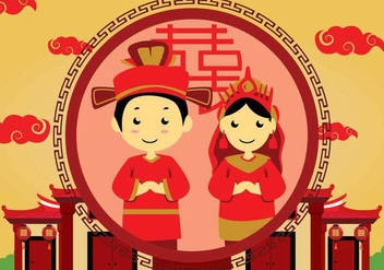 Free Chinese Wedding Illustration - бесплатный vector #394087