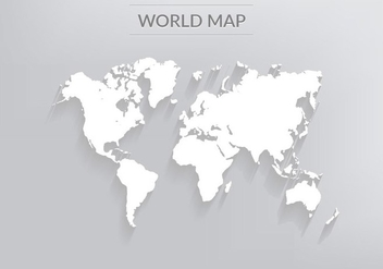 Free Vector World Map With Shadows - Free vector #394117