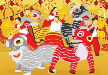 Free Lion Dance illustration - Kostenloses vector #394127