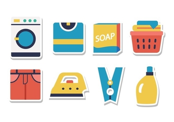 Free Laundry Sticker Icon Set - Free vector #394207