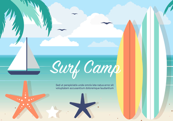 Free Surf Camp Vector Background - бесплатный vector #394367