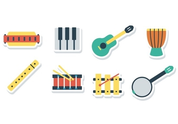 Free Harmonica Sticker Icons - vector gratuit #394377