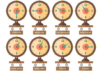 Free Time Zone Icons Vector - vector #394427 gratis
