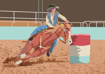 Vector Man On Barrel Racing - бесплатный vector #394847