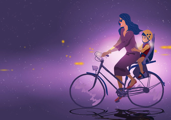 Mom And Child Cycling - Free vector #394887