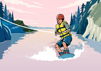 Young Man Riding Wakeboarding - Free vector #394937