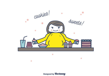 Fat Woman And Cookies Vector - бесплатный vector #394997
