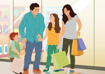 Family Shopping Time - Kostenloses vector #395017