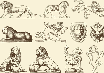 Ancient Art Lions - бесплатный vector #395327