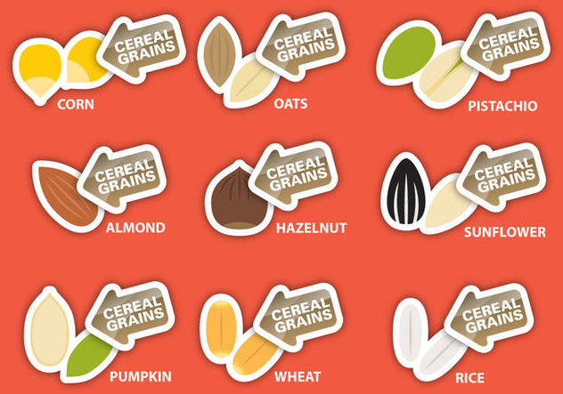 Cereal Grains Labels - бесплатный vector #395357