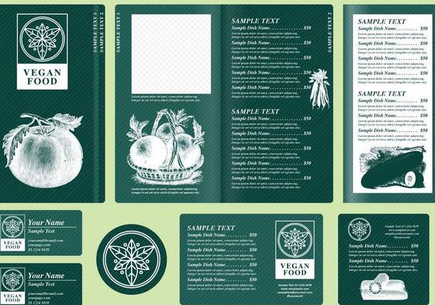 Vegetarian Menu Templates - Free vector #395367