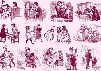 Vintage Family Illustrations - Free vector #395597