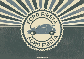 Retro Style Ford Fiesta Illustration - Free vector #395607