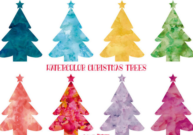 Watercolor Style Christmas Trees - Free vector #395677