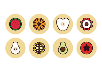 Free Linear Color Fruit Icons - vector gratuit #395867