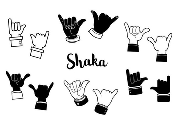 Free Black and White Shaka Vector - vector gratuit #395877