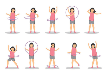 Free a Girl With Hula Hoop Vector - Free vector #395957