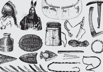 Native American Tools And Ornaments - vector gratuit #395977