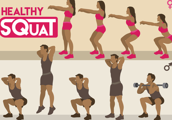 Healthy Squat Vectors - бесплатный vector #396007