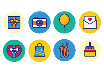 Free Birthday Icons - vector gratuit #396057