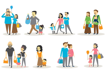 Free Set of Family Shopping - Free vector #396147