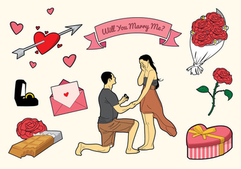 Free Romantic Marry Me Icons - vector #396177 gratis