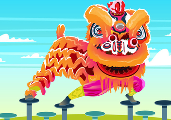 Lion Dance Poses - vector gratuit #396207
