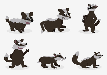 Funny honey badger pose character - бесплатный vector #396397
