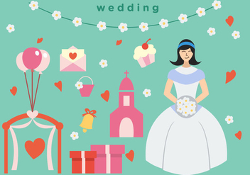 Bride Wedding Vector Pack - бесплатный vector #396407