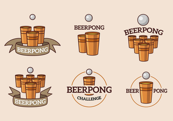 Beer pong cup and ball logo - Free vector #396417