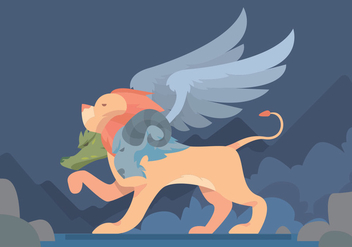 Winged Lion Vector Design - бесплатный vector #396557