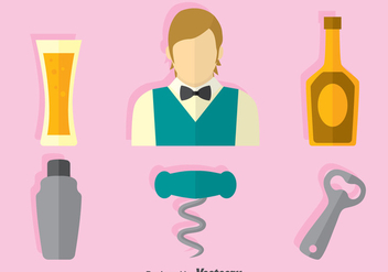 Barman Element Flat Icons Vector - vector gratuit #396617