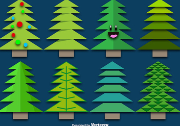 Paper Christmas Trees Set - vector gratuit #396717
