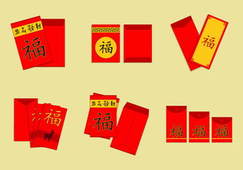 Chinese envelope red packet vector pack - vector #396867 gratis