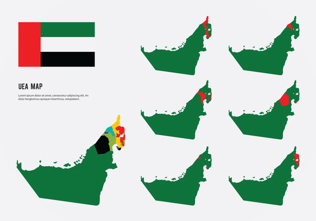 United Arab Emirates Map Vectors - бесплатный vector #397117