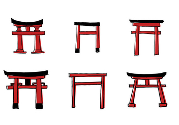 Scribble Torii Vector Set - Kostenloses vector #397167