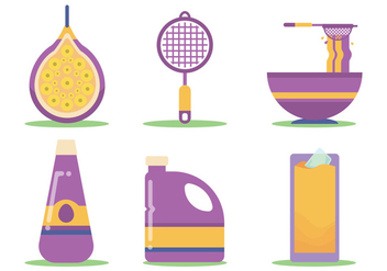 Passion Fruit Juice Making Vector Set - vector gratuit #397337