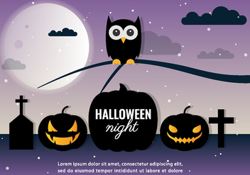 Halloween Night Vector Owl - Kostenloses vector #397497