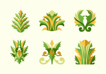 Acanthus floral flat design vector pack - Kostenloses vector #397697