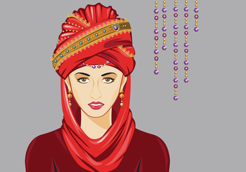 Woman with Turban Vector - vector gratuit #398177